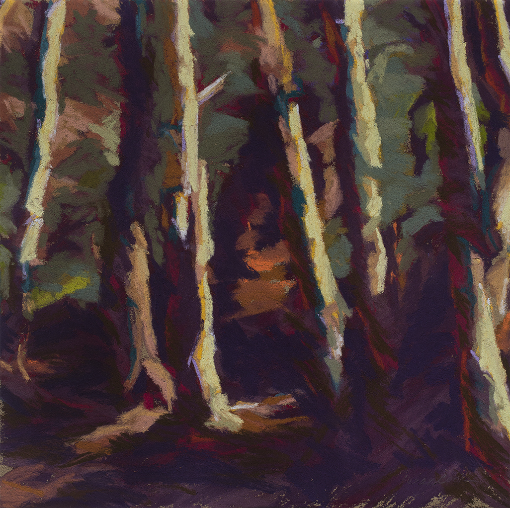 "Susan Cook ""Red Forest Study"" pastel on paper, 10x10"