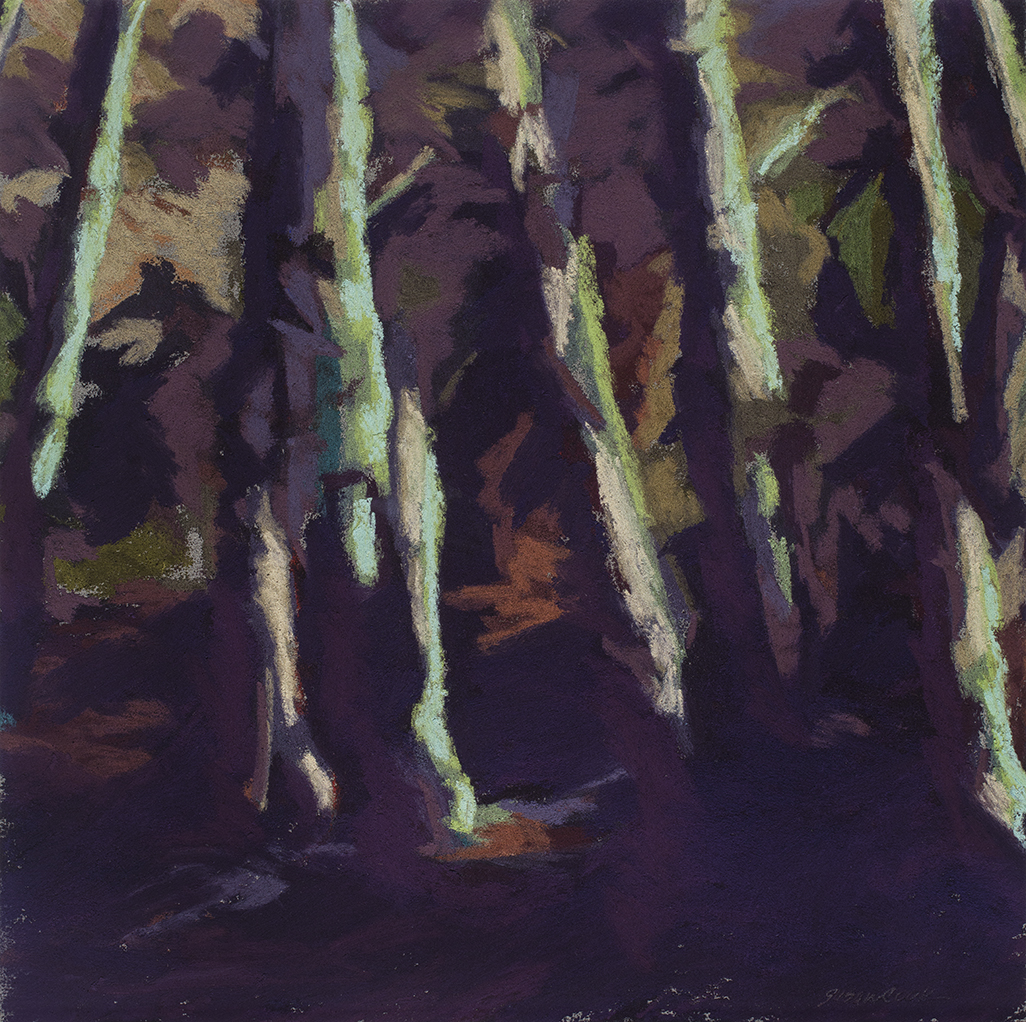 "Susan Cook ""Purple Forest Study"" pastel on paper, 10x10"