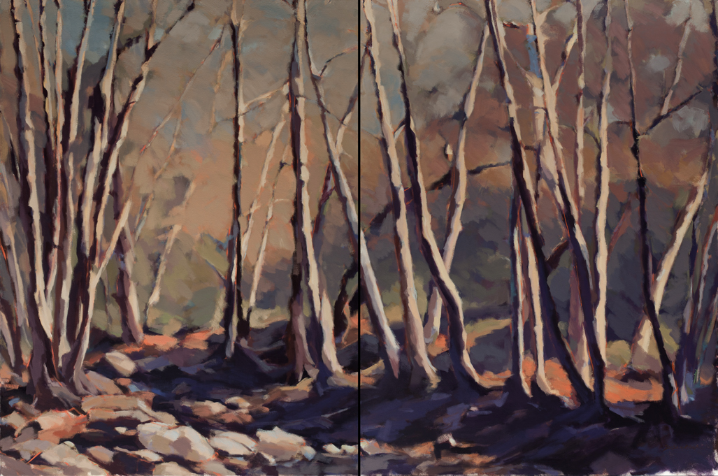 "Susan Cook ""Beyond the Darkness"" oil on canvas, diptych, 48x72"