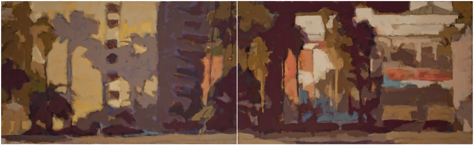 "Susan Cook ""Ventura at Sunset"" oil on canvas, diptych, 22x60"