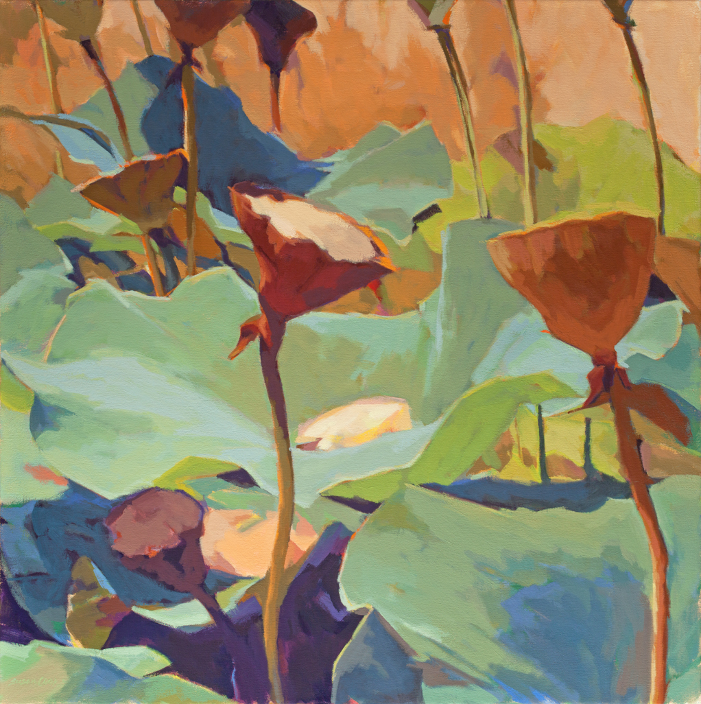 "Susan Cook ""Lotus 2"" oil on canvas, 30x30"