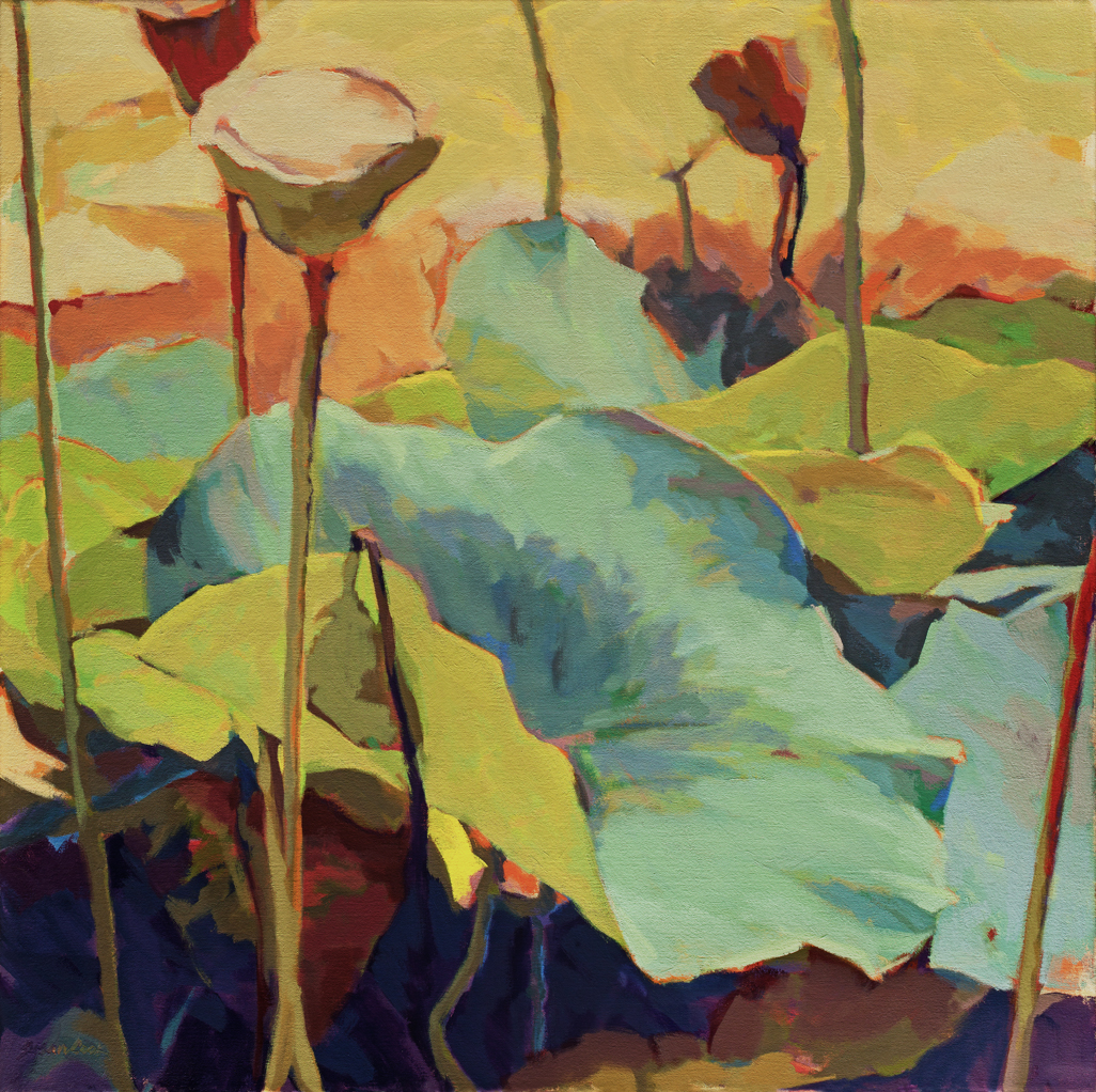 "Susan Cook ""Lotus 3"" oil on canvas, 30x30"