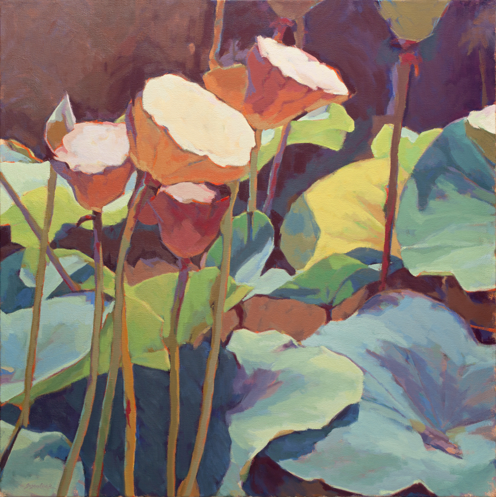 "Susan Cook ""Lotus 4"" oil on canvas, 36x36"