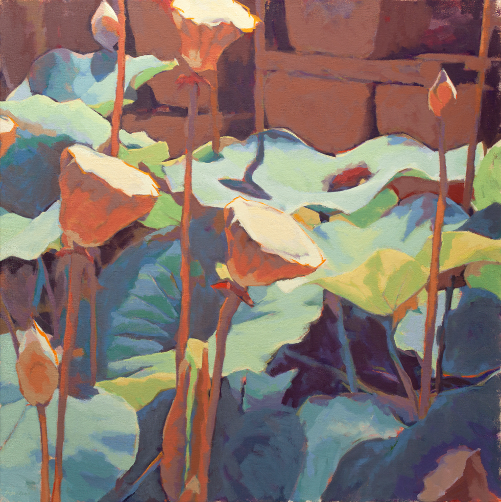 "Susan Cook ""Lotus 5"" oil on canvas, 36x36"
