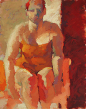 "Susan Cook ""Red Suit"" oil on canvas, 40x30"