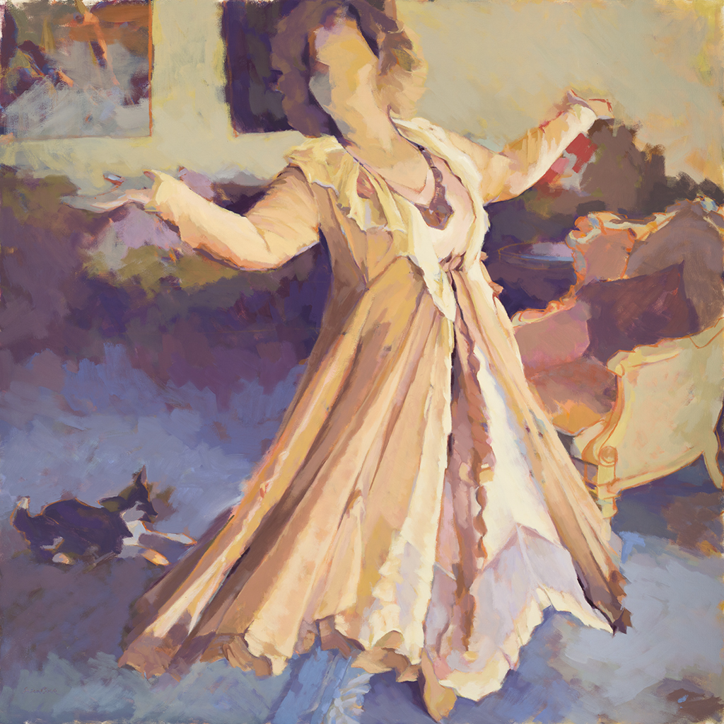"Susan Cook ""Dancing like no one is Watching"" oil on canvas, 54x54"