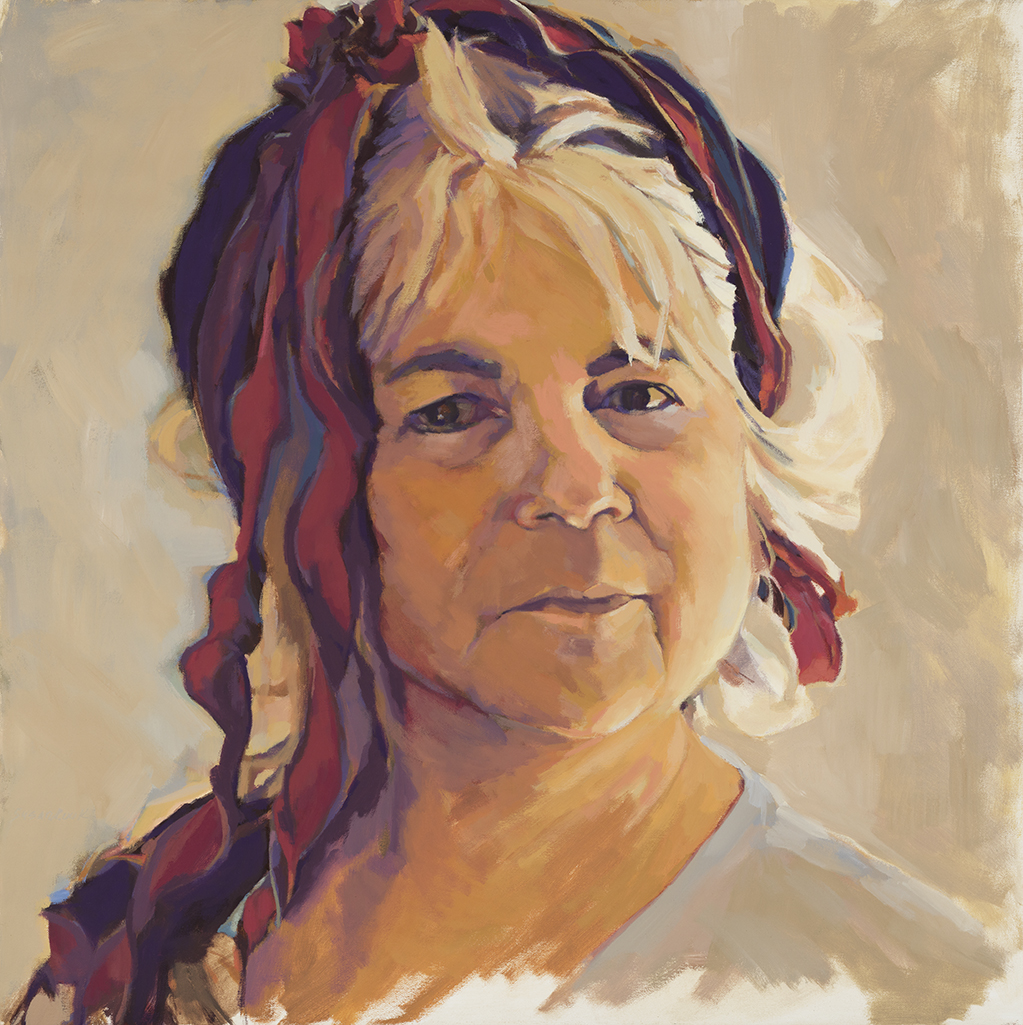 "Susan Cook ""Ribbons for an Empress"" oil on canvas, 30x30"