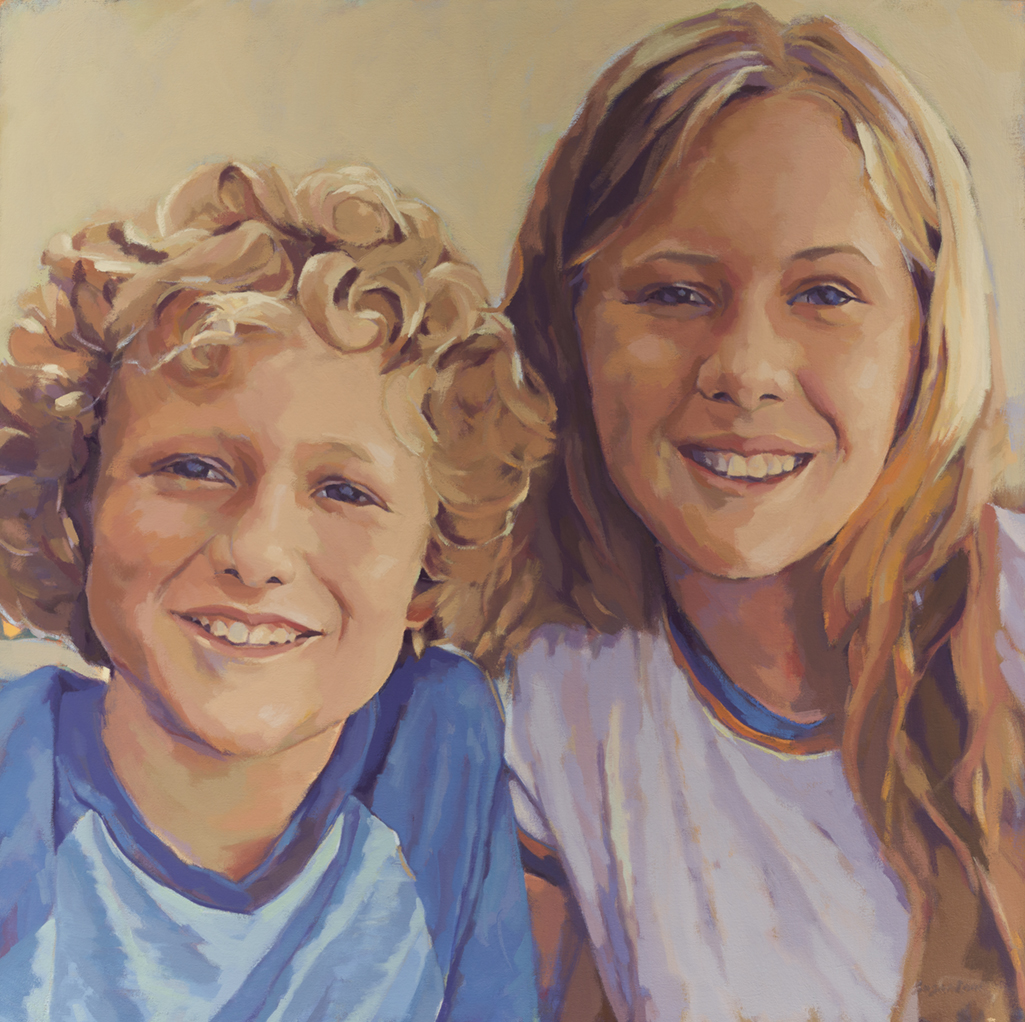 "Susan Cook ""Dylan and Hanna"" oil on canvas, 30x30"