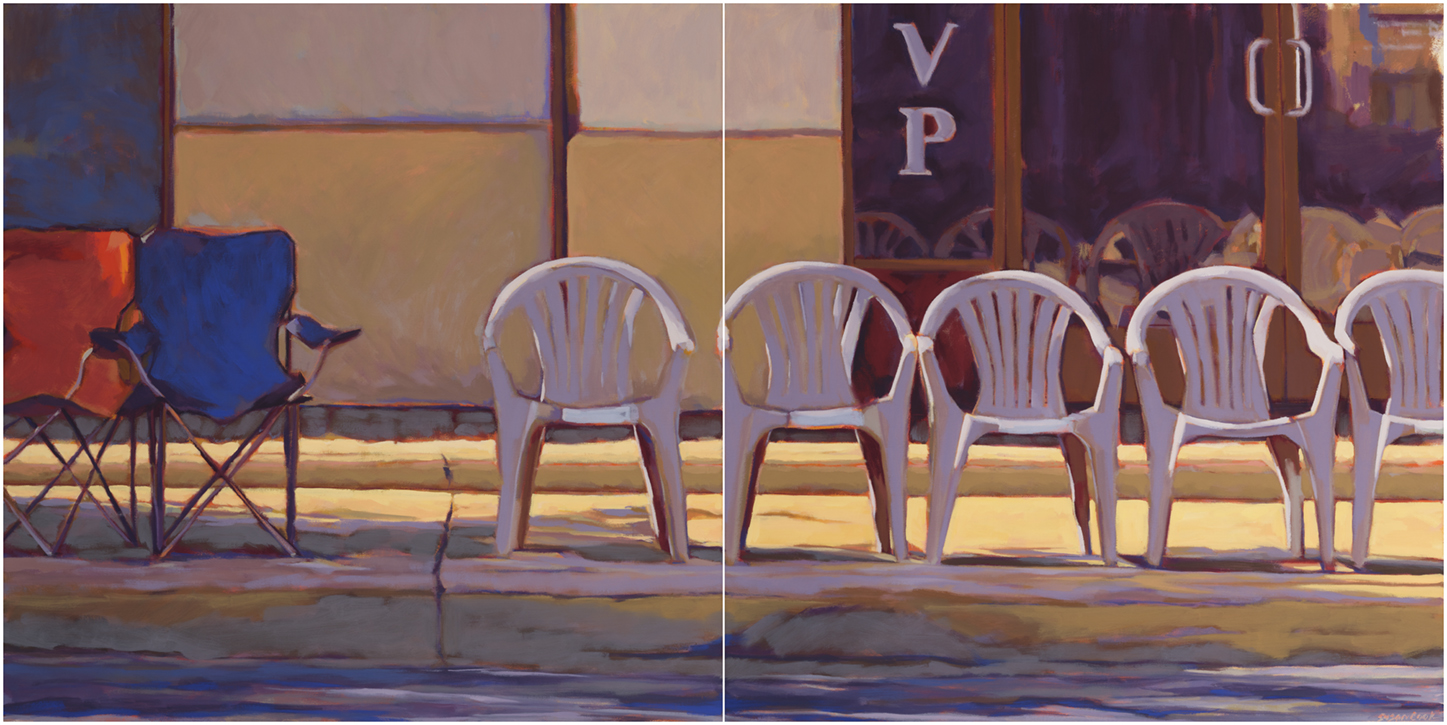 "Susan Cook ""Anticipation"" oil on canvas, diptych, 30x60"